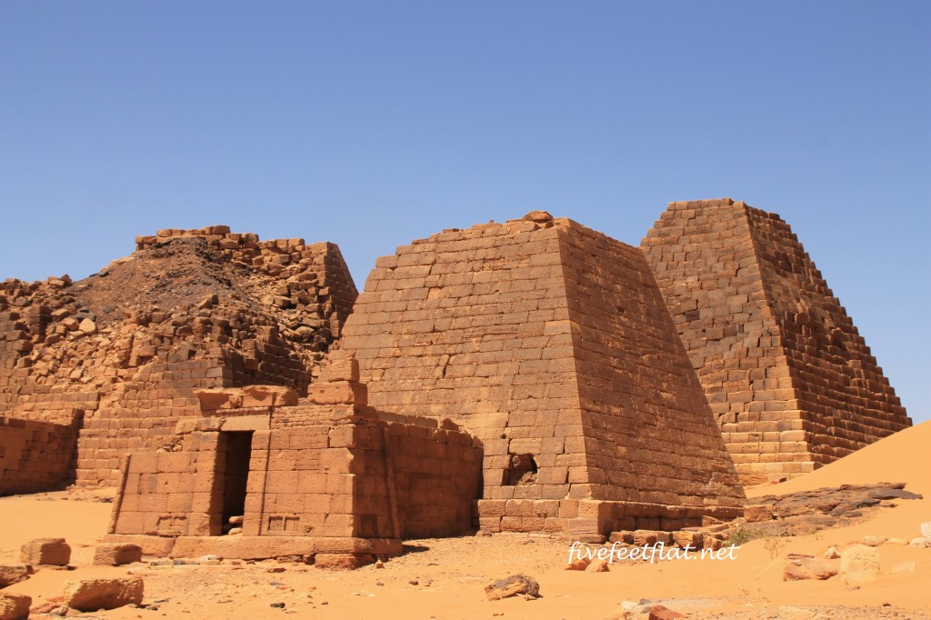 Meroe pyramids, their tops lopped off by treasure hunters