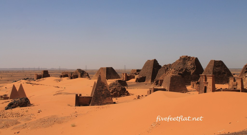 Dozens of pyramids, as far as the eye can see