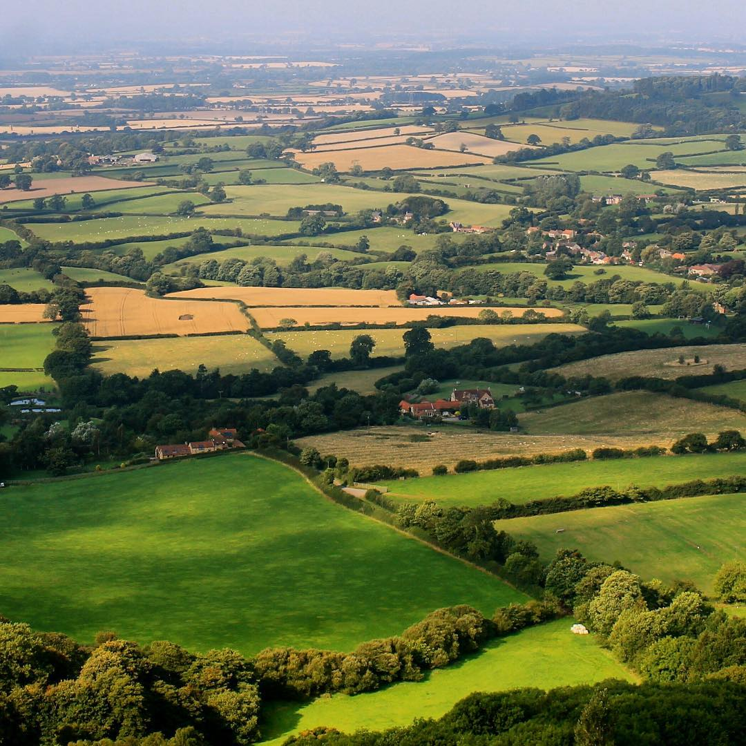 A patchwork of green fields Looking down from Sutton Bankhellip