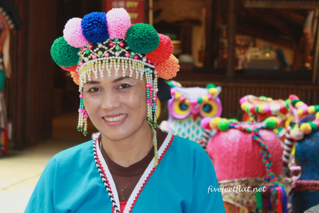 Lady from the Tsou community at the cultural village in traditional costume
