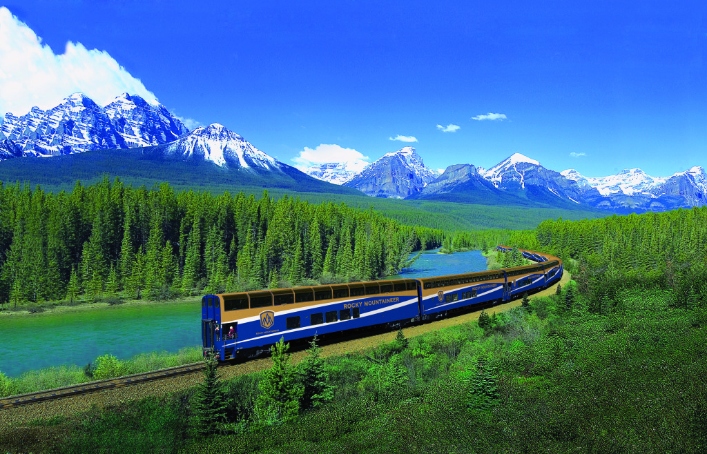 The Rocky Mountaineer at Morants Curve near Lake Louise, Alberta.